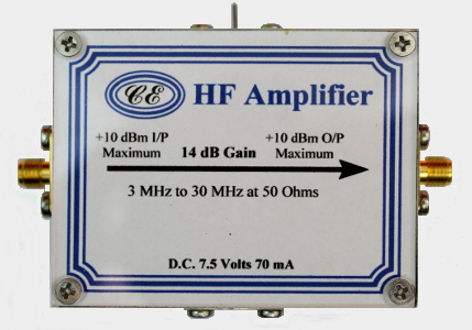 [Photograph of HF Amplifier Box showing connectors]
