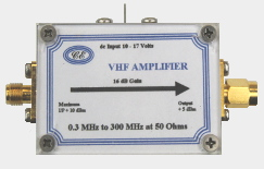 [Photograph of VHF Amplifier Box showing connectors]