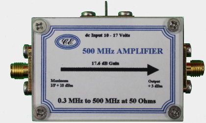 [Photograph of 500 MHz Amplifier Box showing connectors]
